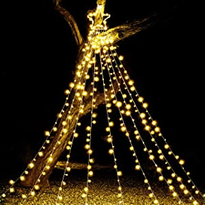 Joiedomi 335 LED Tree Decoration Star Lights 8 Lighting Modes Waterproof for Christmas Home Party Wedding Garden Yard Patio Xmas Outdoor Décor (Warm White)