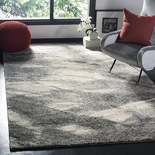 Safavieh Retro Collection Modern Abstract Grey and Ivory Area Rug 5 x 8