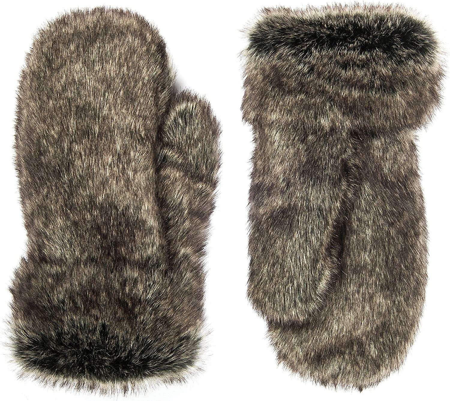 Futrzane Faux Fur Winter Gloves for Women - Rabbit Fur Lined Natural Mittens (Ashen) at  Women's Clothing store: Cold Weather Gloves