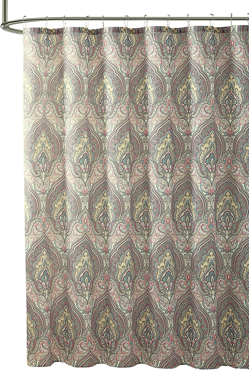 """Hudson & Essex Grey Coral Yellow Teal Cloth Fabric Shower Curtain: Floral Paisley Print Design, 72"""" x 72"""" inch"""