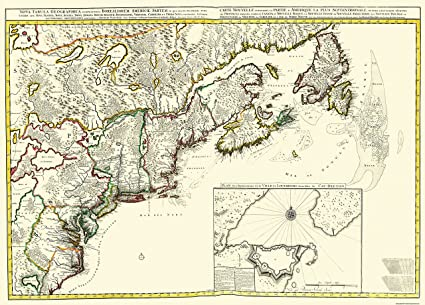Old New England Map.Amazon Com Old Canada Map Canada And New England 1695 32 X 23