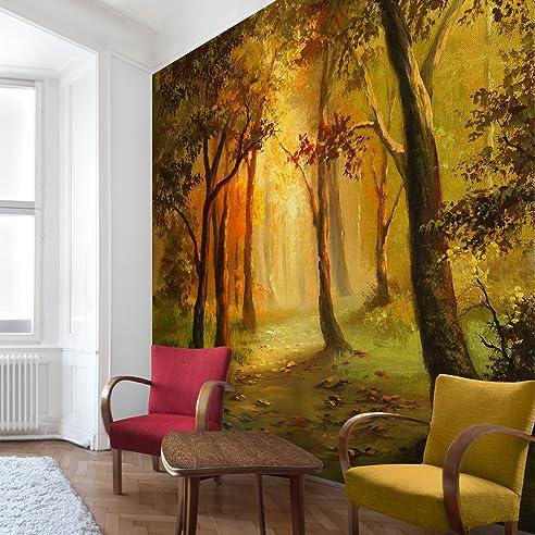 Apalis Waldtapete Vliestapete Gemälde einer Waldlichtung ...