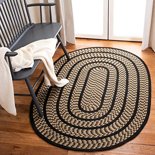 Safavieh Braided Collection BRD401G Hand Woven Beige and Black Oval Area Rug 8 x 10 Oval