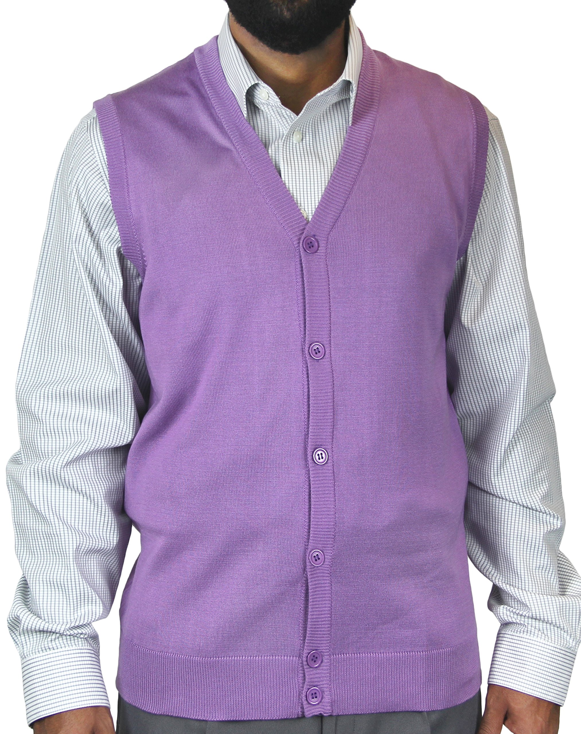 Blue Ocean Solid Color Cardigan Sweater Vest-2X-Large