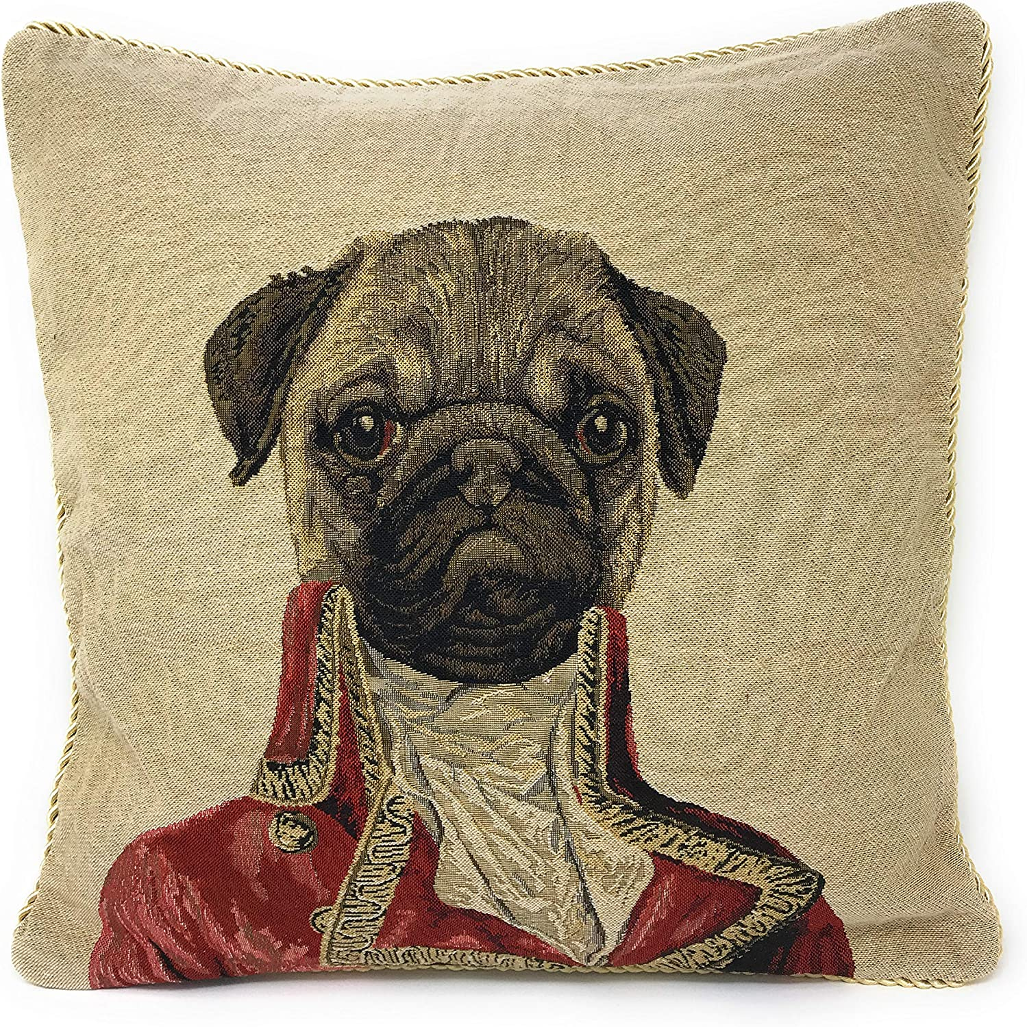 Tache 1 Piece 18 X 18 Inch Square French Vintage European Pug Dog Napoleon Bownparte Woven Tapestry Cushion Pillow Throw Cover Home Kitchen