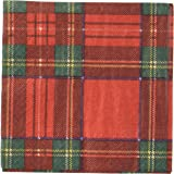 Entertaining with Caspari Royal Plaid Cocktail Napkins, Red, (Pack of 20)