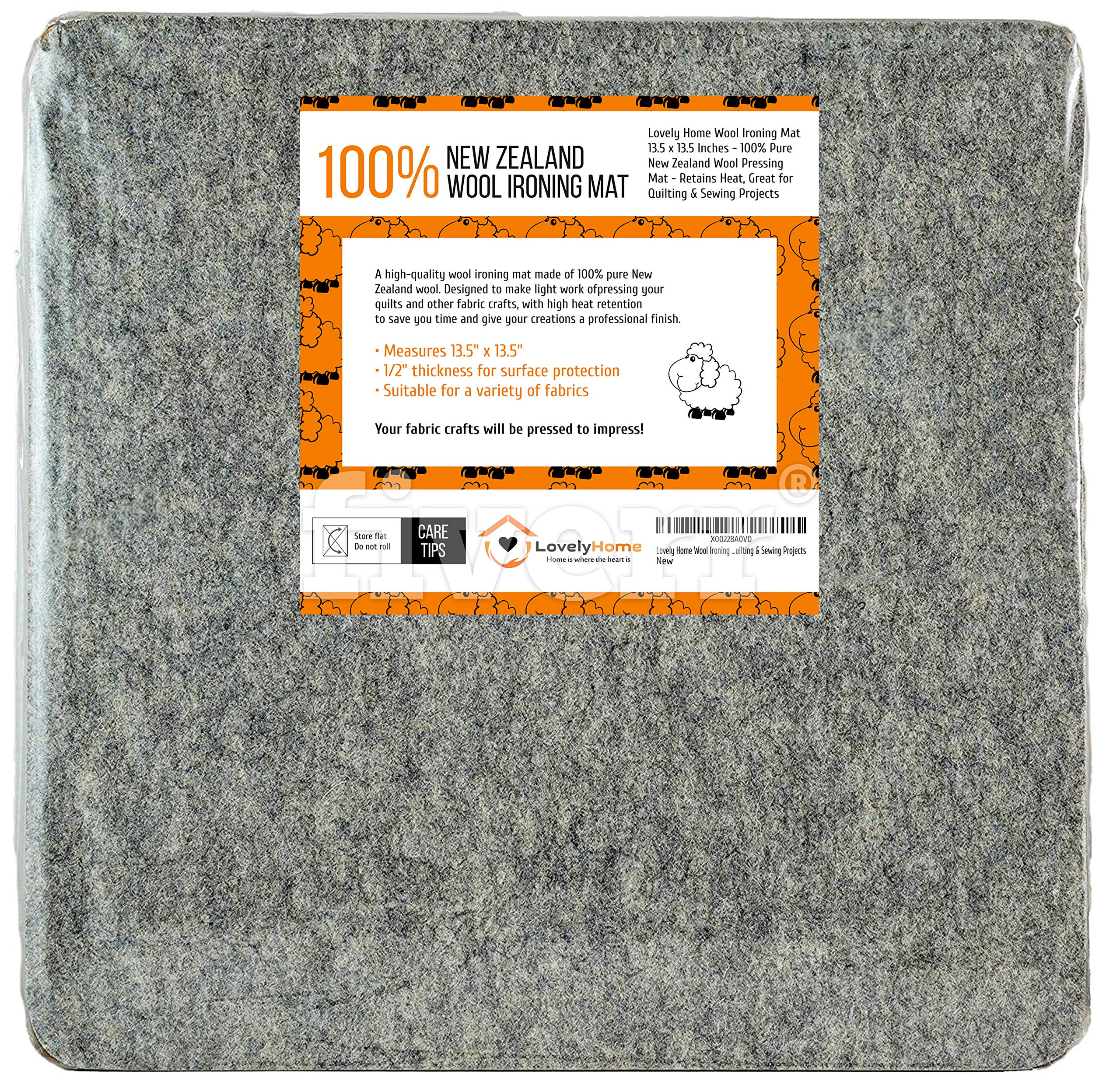 Lovely Home Wool Ironing Mat 13.5 x 13.5 Inches - 100% Pure New Zealand Wool Pressing Mat - Retains Heat, Great for Quilting & Sewing Projects by Lovely Home
