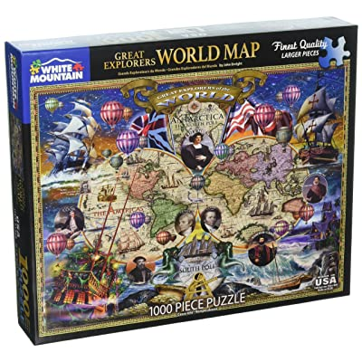 White Mountain Puzzles Great Explorers World Map - 1000 Piece Jigsaw Puzzle: Toys & Games