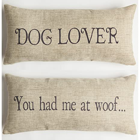 Amazon.com: Perro lover-woof Mensaje de regalo Throw Pillow ...