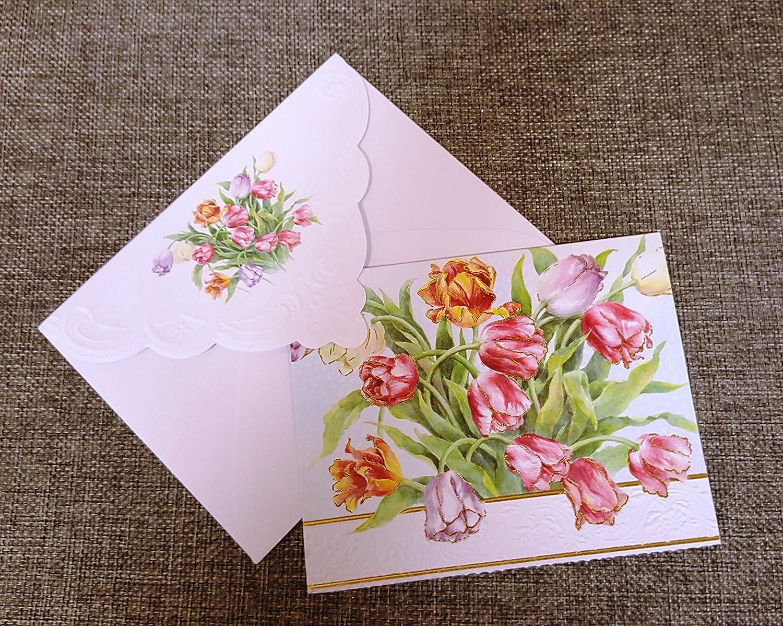 Carol Wilson Fine Arts Stationery 10 Blank Note Cards Envelopes Tulips Tulip