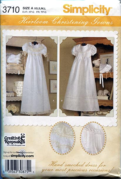Amazon Simplicity Sewing Pattern 3710 Babies Christening Gowns