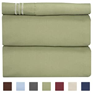 Twin Size Sheet Set - 3 Piece Set - Hotel Luxury Bed Sheets - Extra Soft - Deep Pockets - Easy Fit - Breathable & Cooling - Wrinkle Free - Comfy – Sage Green Bed Sheets – Twins Sheets - 3 PC