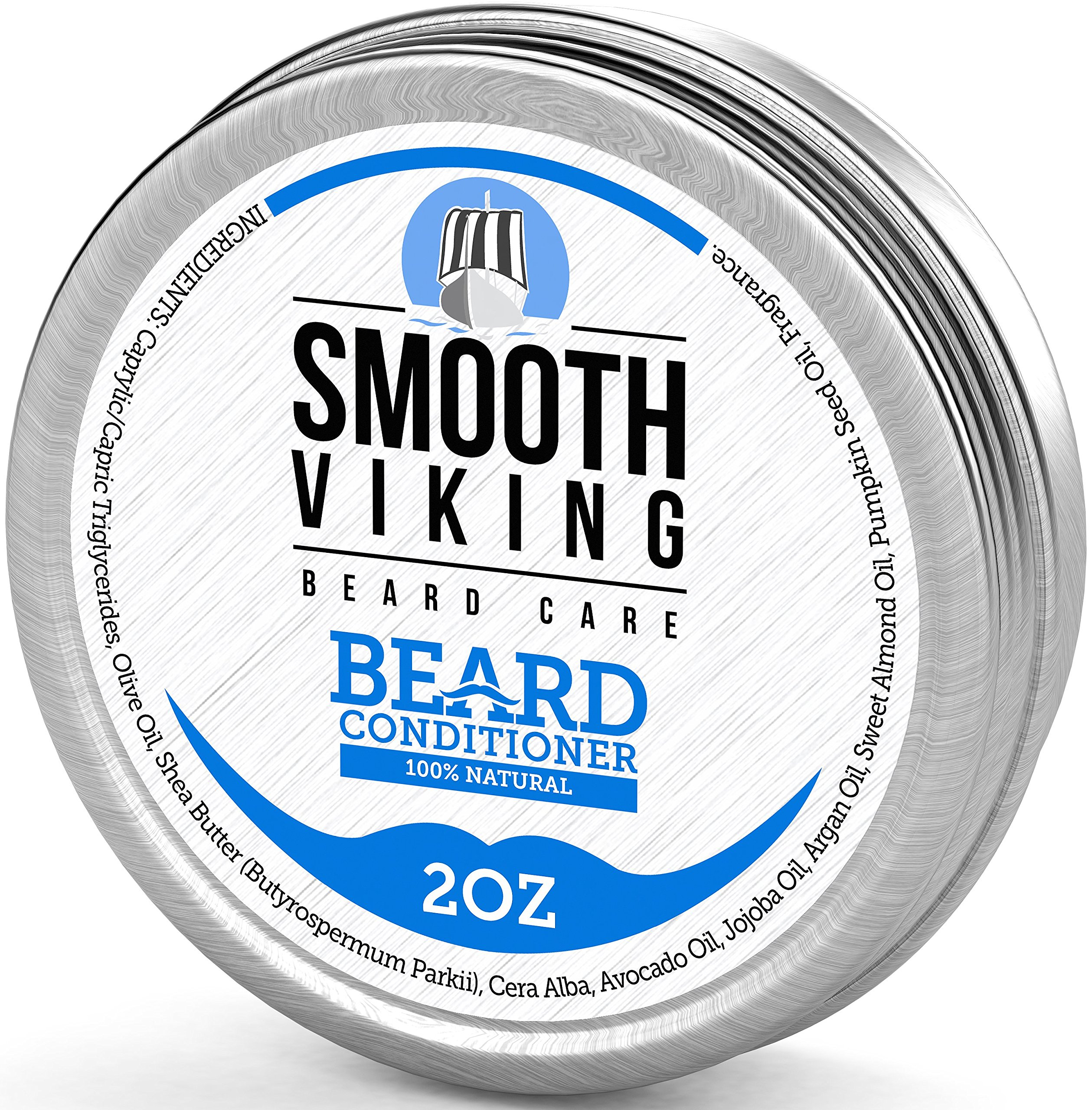 Beard Conditioner for Men - Encourages Growth – Leave-In Wax Conditioner that Softens and Soothes Itching - Made with Argan Oil Beeswax and Shea Butter - 2 OZ – Smooth Viking