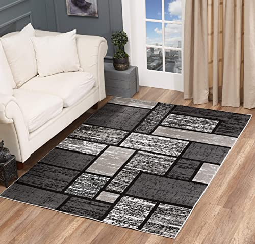 Glory Rugs Area Rug 8×10 Gray Black Abstract Modern Boxes Carpet Bedroom Living Room Contemporary Dining Accent Sevilla Collection 6614A Grey Black
