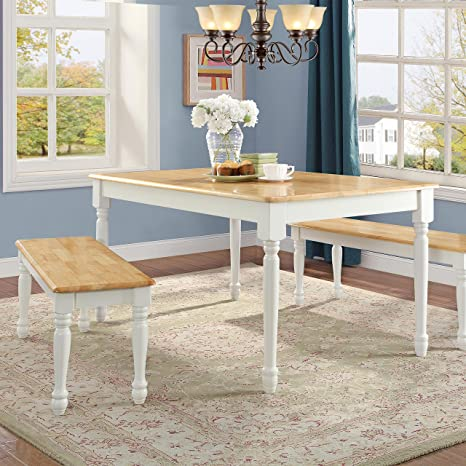 MegaDeal- Wooden Dining and Breakfast Table and Bench Set, Furniture (White and Natural, 3 Piece)