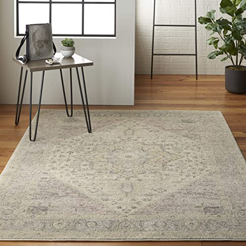 Nourison TRA06 Tranquil Persian Vintage Ivory Pink Area Rug 4 X 6