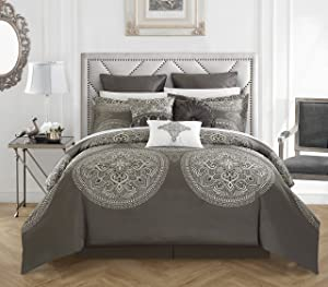 Chic Home 9 Piece Orchard Place Faux Silk Luxury Large Medalion Jacquard with Embroidery Details and Trims Queen Comforter Set Grey