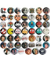 """Huge Wholesale Lot of 48 1980s 1"""" Pins/Buttons/Badges"""