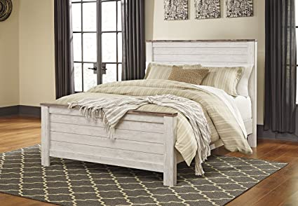 Amazon.com: Willannet Casual Whitewash Color Wood Queen Panel Bed ...