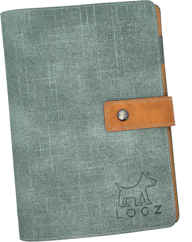 Loose Leaf A5 Grid Paper Binder Notebook 6-Ring (Green)
