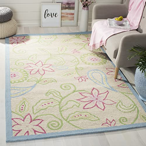 Safavieh Safavieh Kids Collection SFK362A Handmade Ivory and Blue Cotton Area Rug 3 x 5
