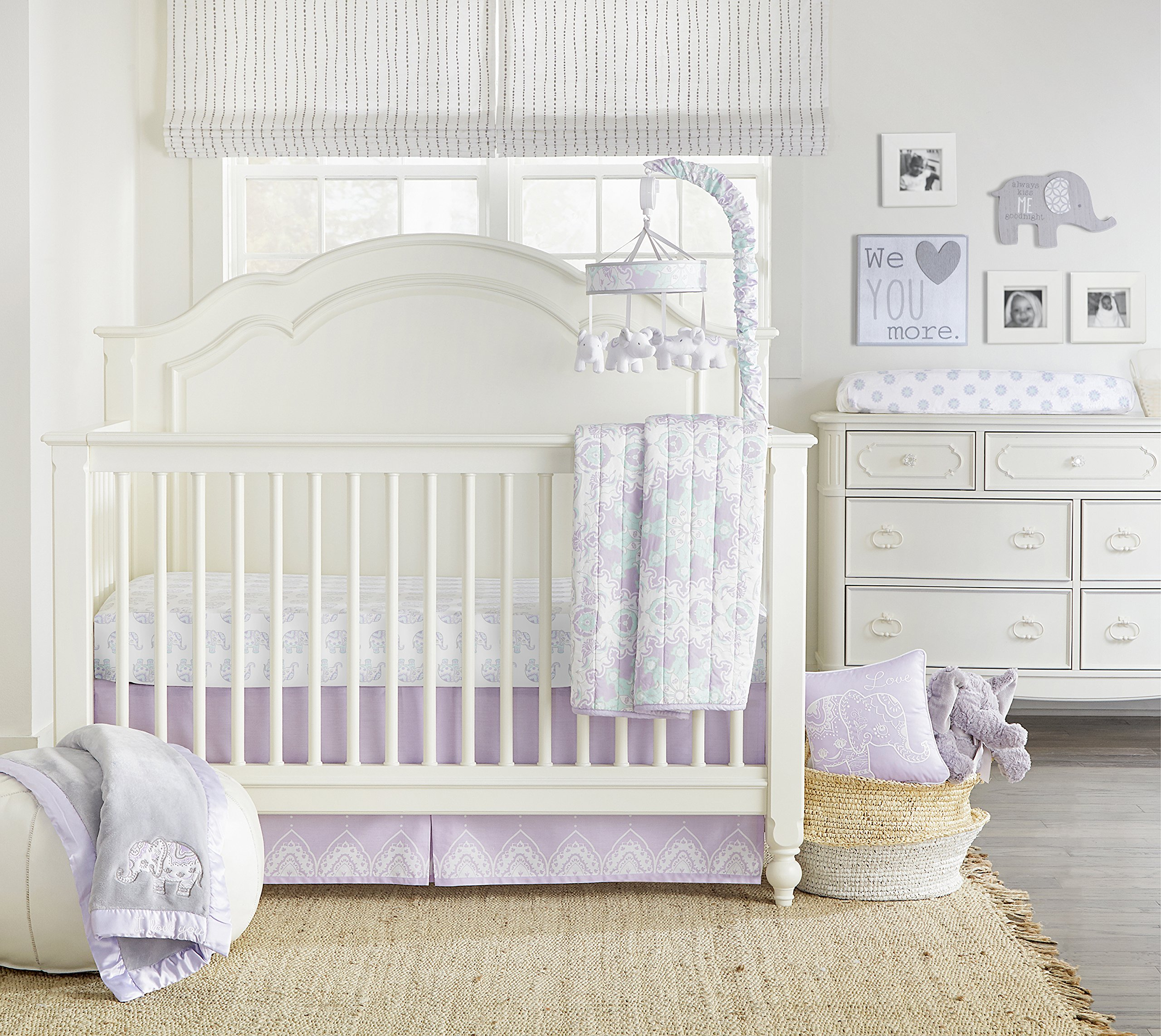Wendy Bellissimo 4pc Nursery Bedding Baby Crib Bedding Set - Elephant Crib Bedding from the Anya Collection in Lavender and Grey by Wendy Bellissimo