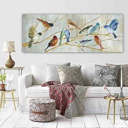 Amazon.com: 12\' x 36\' Red Blue Birds Pattern Wall Art Rectangle ...