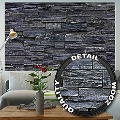 great-art Fototapete Black Stonewall - 210 x 140 cm 5-Teilige Wandtapete Steintapete Steinoptik Wanddeko 3D Effekt Tapete schwarze Steinwand