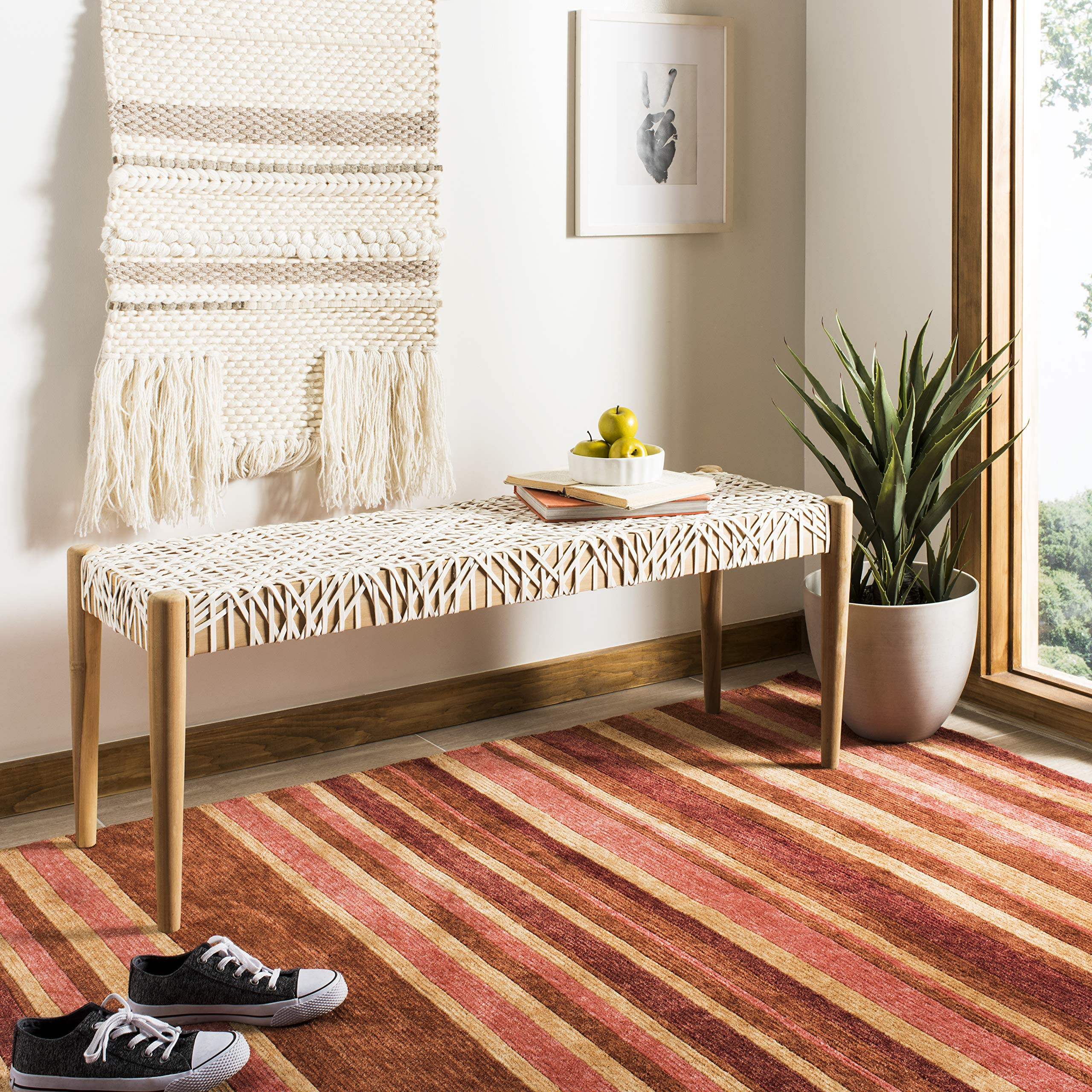 Safavieh BCH1000A Home Collection Bandelier Bench, Off- Off-White/Natural by Safavieh