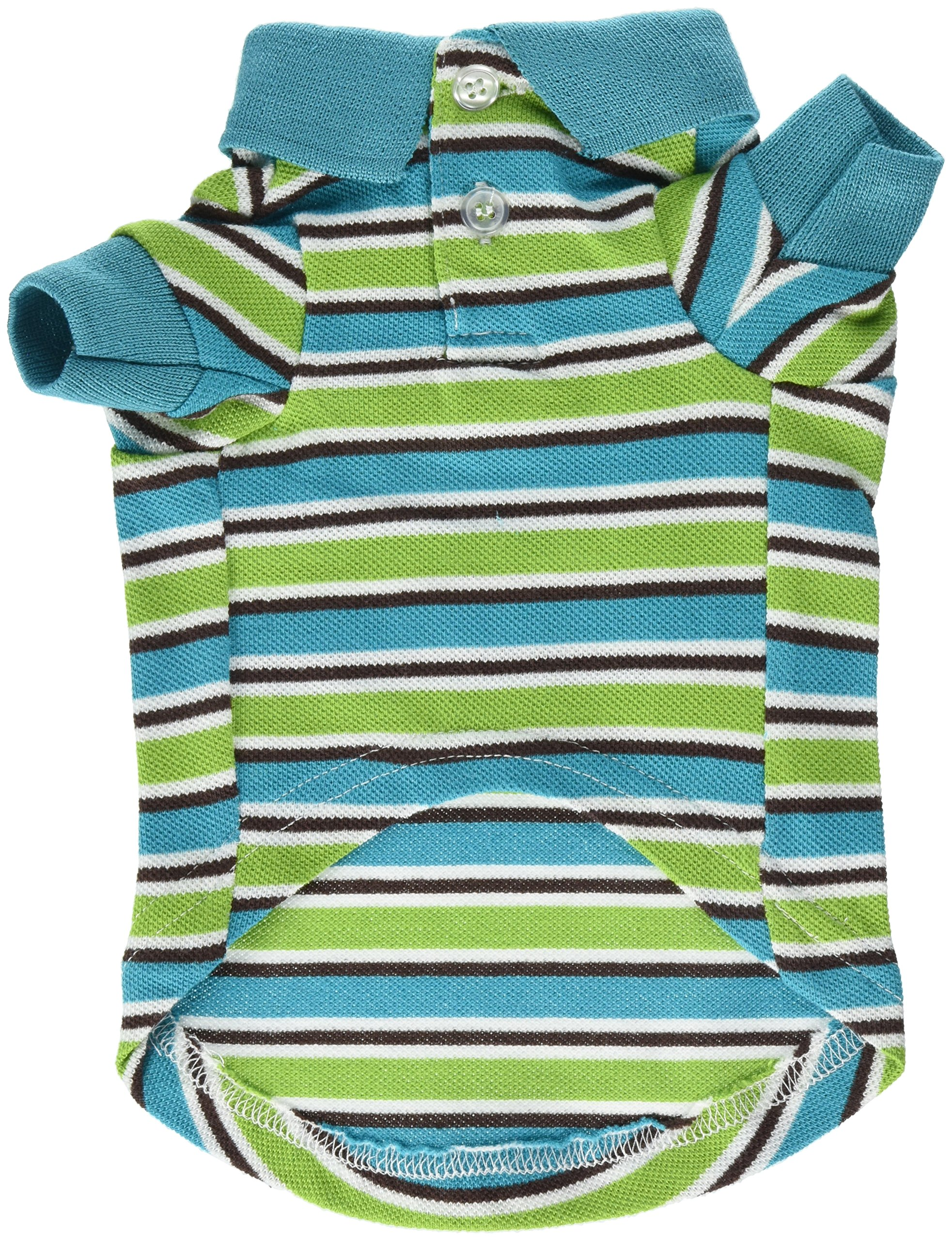 East Side Collection ZM3023 10 16 Brite Striped Polo Top for Dogs, X-Small, Bluebird