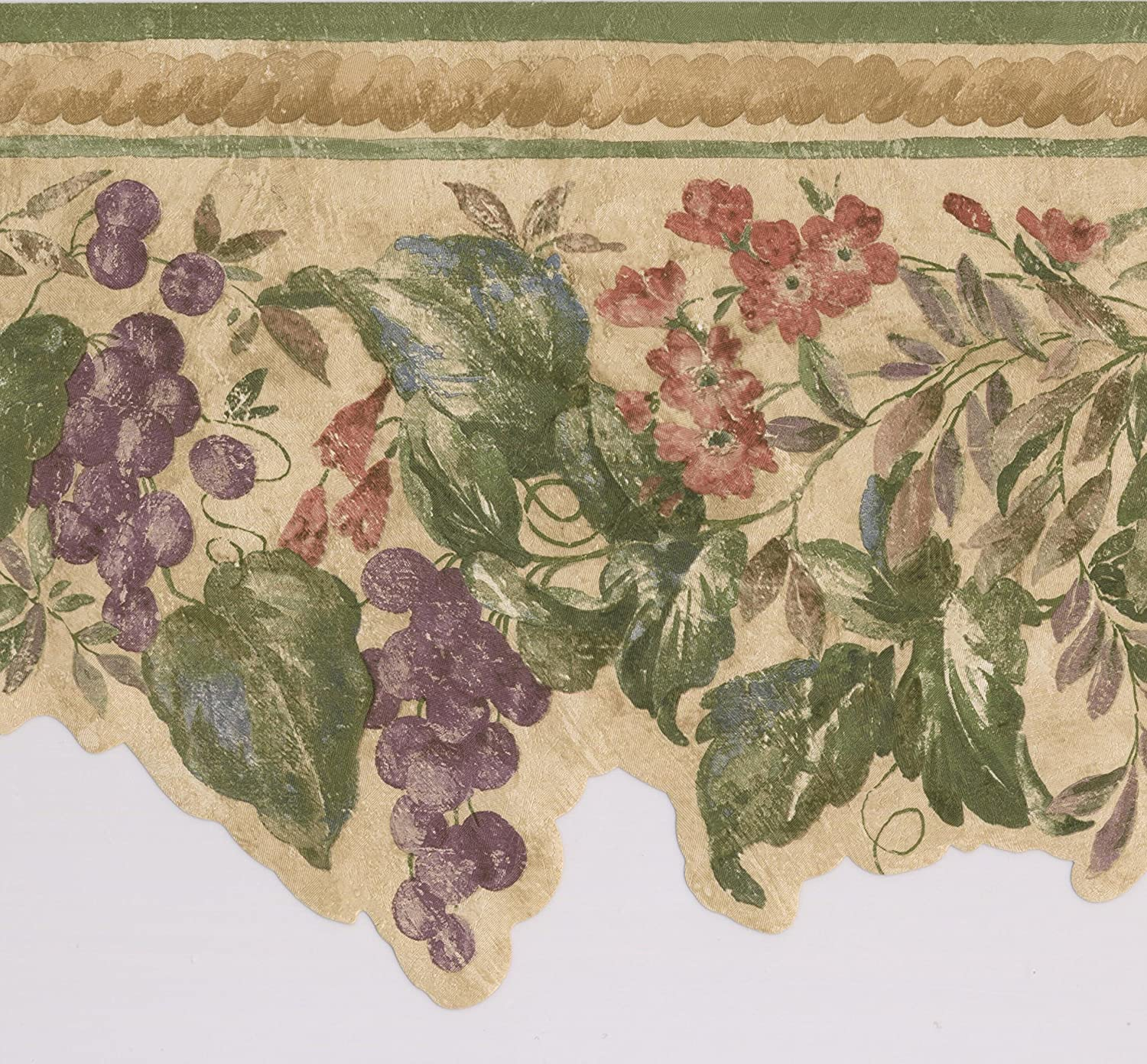Purple Grapes Red Flowers On Vine Vintage Floral Wallpaper Border