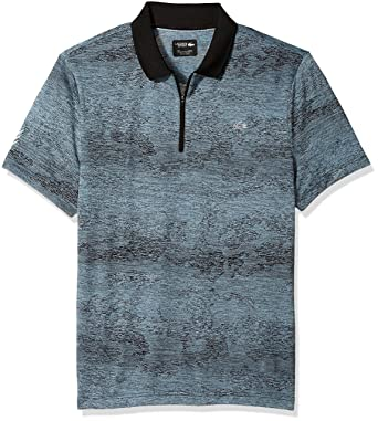 f7b5416c Lacoste Men's Short Sleeve Jersey Tech All Over Print Zip Placket Polo,  DH3133, Black