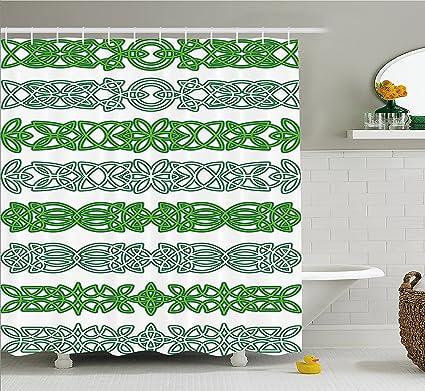 Ambesonne Irish Shower Curtain Ancient Occult Inspired Motifs Folk Gaelic Artistic Floral Religious Interlacing