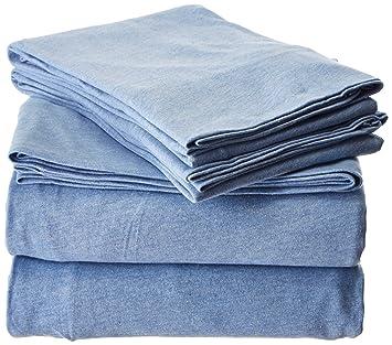 inkivy ii20072 cotton jersey knit heathered sheet set full bluefull - Jersey Knit Sheets