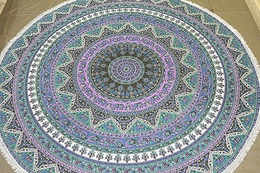 Indian Round Star Mandala Tapestry Elephant Wall Hanging Beach Throw Yoga Mat