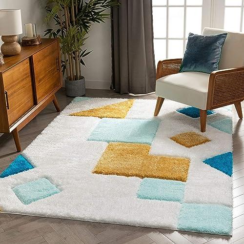 Well Woven Abbi Blue Boxes Circles Thick Soft Plush 3D Textured Shag Area Rug 8×10 7 10 x 9 10