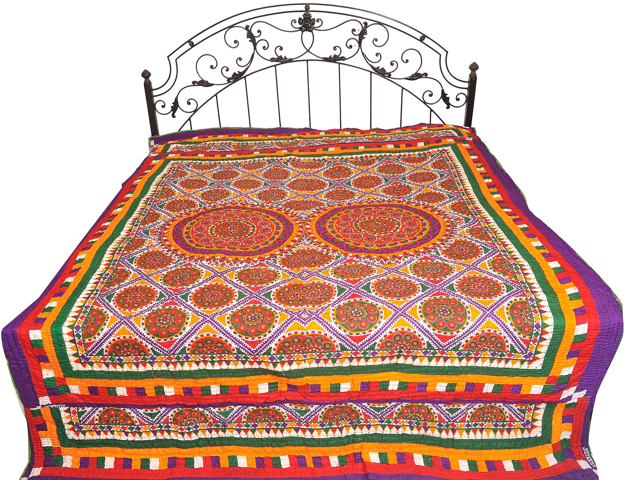 Multicolor Bedcover from Jodhpur with Printed Chakras and Kantha Stitch - Pure Cotton