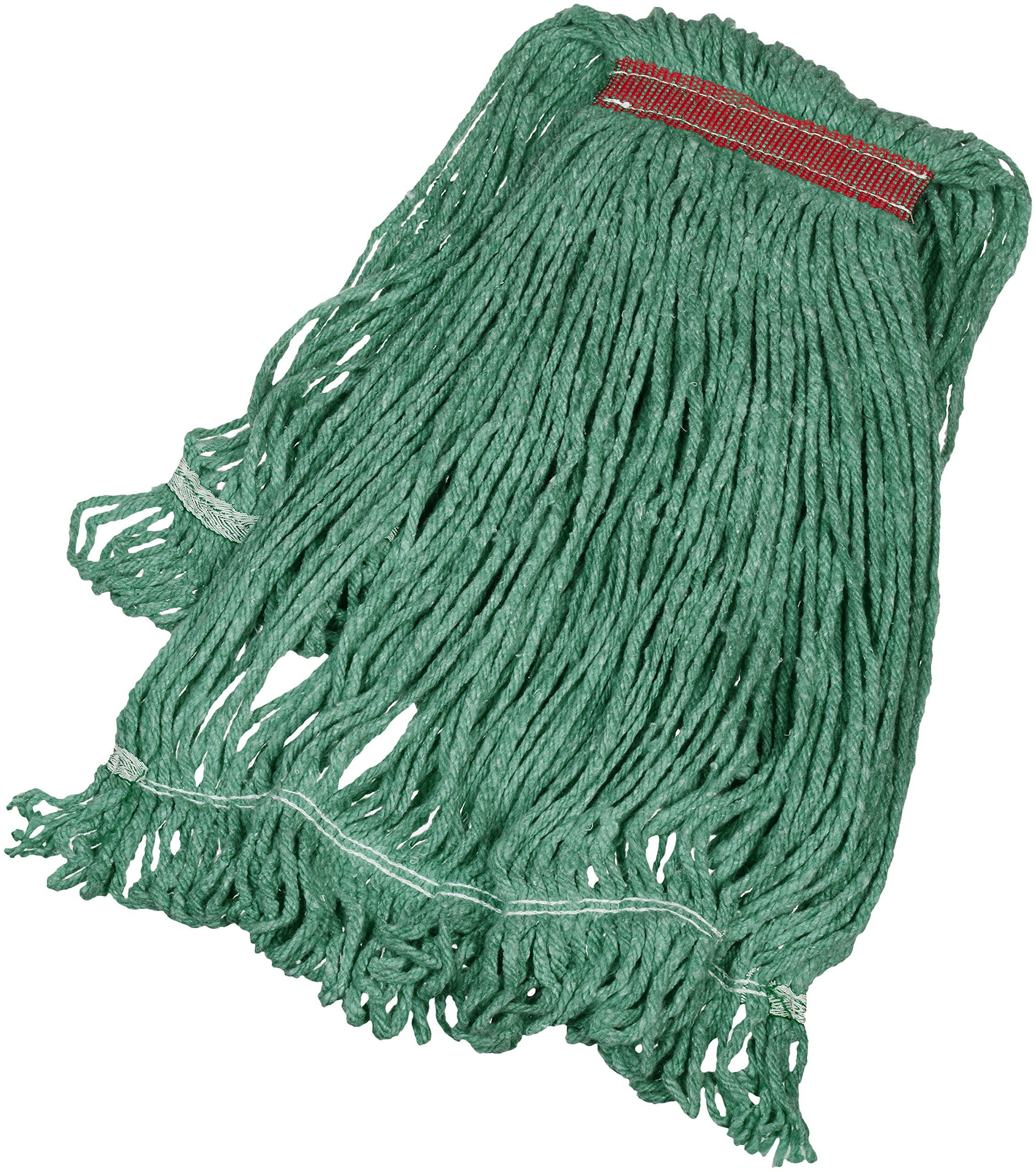 AmazonBasics Loop-End Synthetic Mop Head, 1.25-Inch Headband, Large, Green - 6-Pack