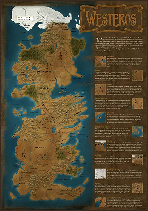 Game Of Thrones Westeros World Map Tv Show Art Wall Poster Print A1