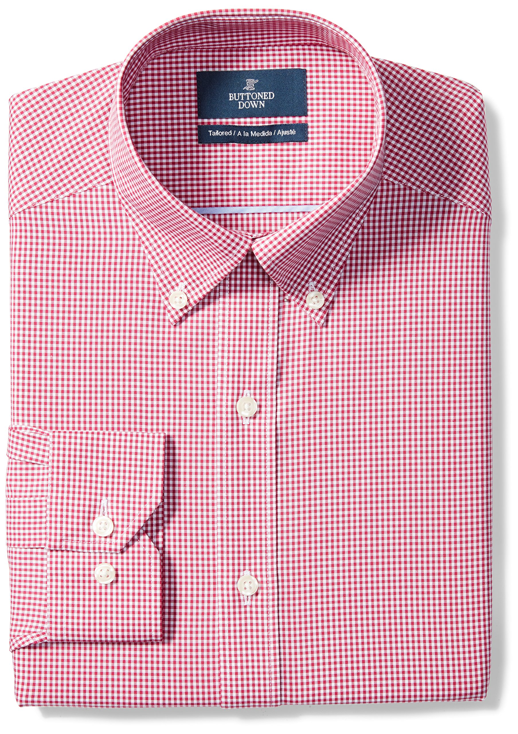 Buttoned Down Men's Tailored Fit Button-Collar Pattern Non-Iron Dress Shirt, Burgundy Gingham, 17.5'' Neck 36'' Sleeve