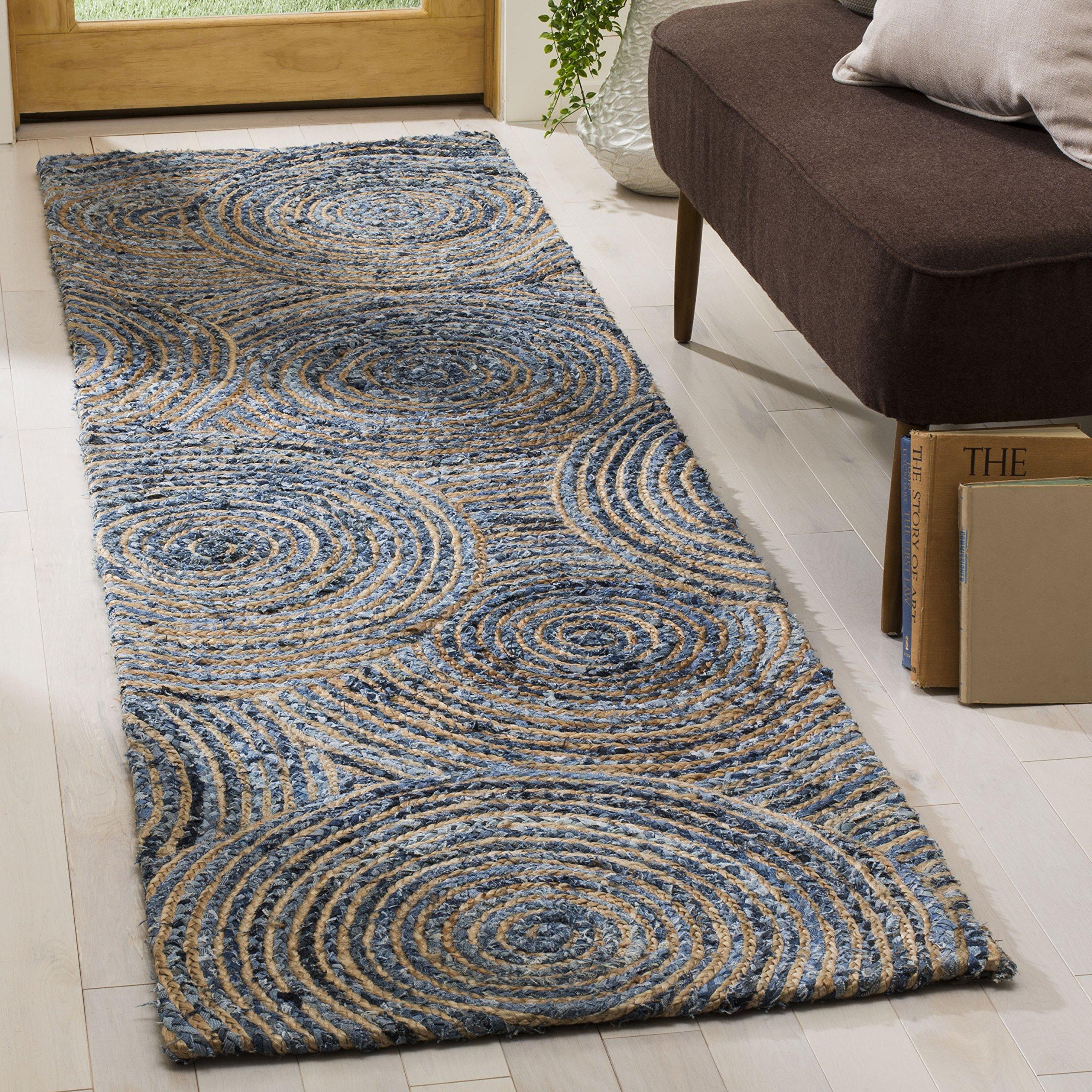 Safavieh CAP603A-28 Cape Cod Collection Flat Weave Handmade Runner, 2'3 x 8', Natural/Denim