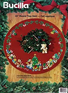 bucilla christmas teddy bears felt applique tree skirt kit 83136