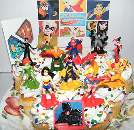 DC Super Hero Girls Deluxe Mini Cake Toppers Cupcake Decorations Set Of 14 With Figures