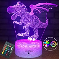 LONGXU Dinosaur Gifts for 5 6 8 9 3 7 Year Old Boy Gifts with Remote & Smart Touch 7 Colors + 16 Colors Changing Dimmable Dinosaur TRex Toys Night Light for Boys (TRex)