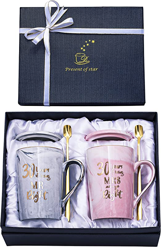 Amazon Com 30th Anniversary Gifts For Couple 30th Wedding Gifts Anniversary 30 Year Parents Anniversary Gifts For 30th Anniversary For Husband Wife Happy Couples For Men And Women 14oz Coffee Mug Set Kitchen