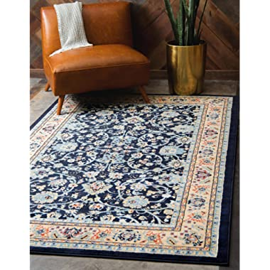 Unique Loom Kashan Collection Traditional Floral Overall Pattern with Border Navy Blue Area Rug (5' x 8')