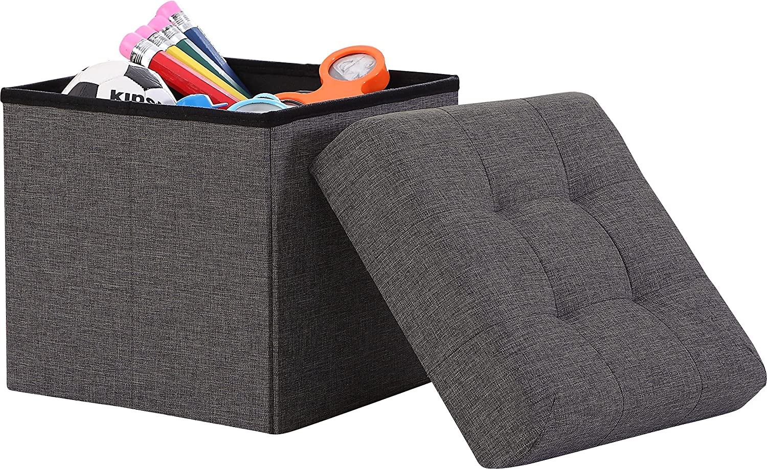 "Ornavo Home Foldable Tufted Linen Storage Ottoman Square Cube Foot Rest Stool/Seat - 15"" x 15"" x 15"" (Charcoal)"