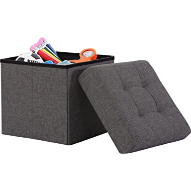 Ornavo Home Foldable Tufted Linen Storage Ottoman Square Cube Foot Rest Stool/Seat - 15  x 15  x 15  (Charcoal)
