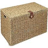 WoodLuv Medium Seagrass Storage Trunk Linen Laundry Storage Basket, Natural
