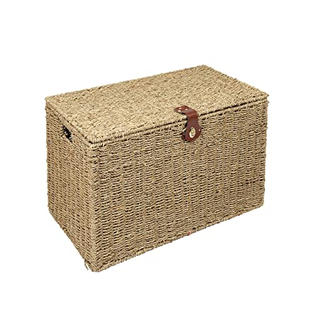 WoodLuv Medium Seagrass Storage Trunk Linen Laundry Storage Basket, Natural
